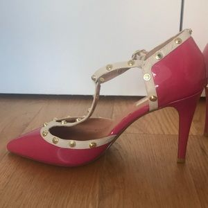 Bright Pink Heels with Gold Studs